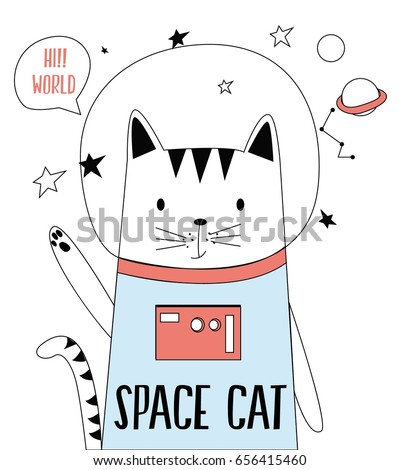 Stock Photo space cat illustration vector for print design.