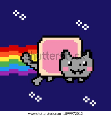 Space Cat Taco Tuesday Mexicano Cinco de Mayo Wey. Pixel, on a blue background. Vector. Cat meme Foto stock ©