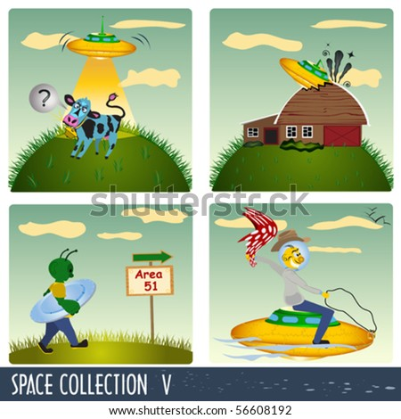Space collection 5, aliens in different situations.