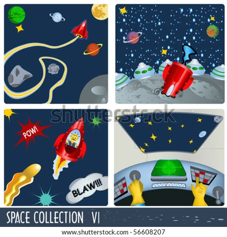 Space collection 6, astronauts in different situations.