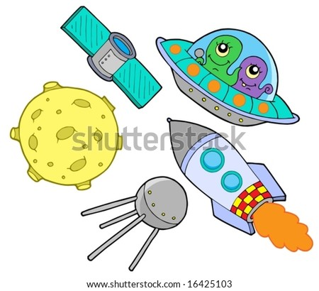Space collection on white background - vector illustration. - stock vector
