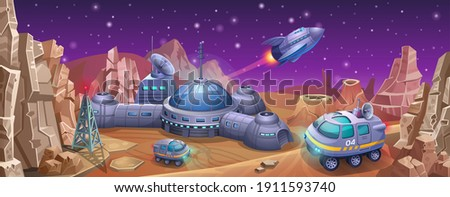Space colony with rovers on the planet Mars. A spaceship takes off from an alien research station.  Foto d'archivio ©