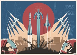 Space Conquering Propaganda Style Illustration, Retro Soviet Space Posters Stylization, Rockets, Cosmonauts, Industrial Background