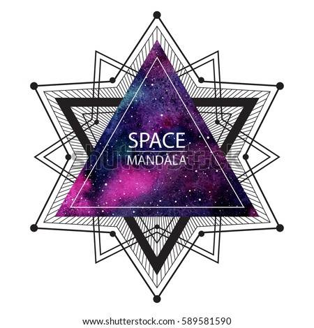 Space, cosmic mandala illustration. Geometric polygonal star made of triangles and lines. Watercolor vector night sky triangle background. Sacred geometry, print design.