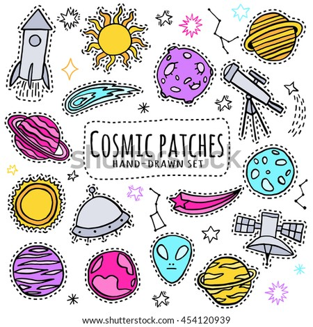 space  cosmic patch set print