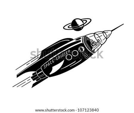 space cruiser   retro clipart