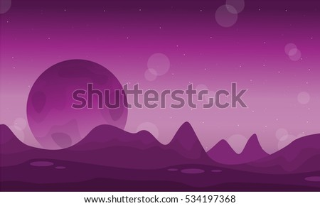 space desert with planet