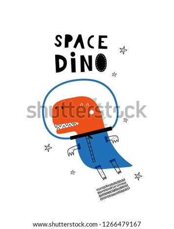 Space Dino. Card template with cute Dino. Hand drawn graphic for typography poster, card, label, brochure, flyer, page, banner, baby wear, nursery. Vector illustration in blue and red.