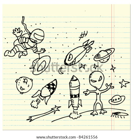 space doodle illustration set