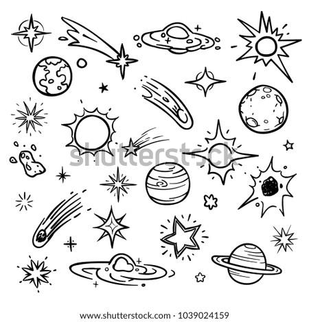 space doodle vector elements