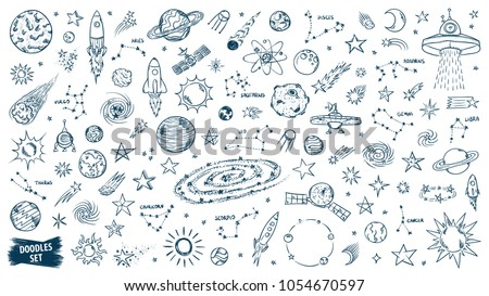space doodles set astronomy