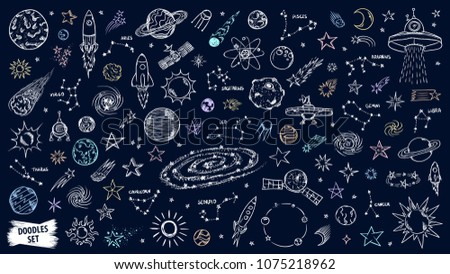 Space doodles set. Astronomy. Cosmic sketches. Zodiac. Planets. Moon and stars. Sun. Spaceship. Meteor. Comet. Alien. Asteroid. Constellation. Universe scribbles. Galaxy collection.