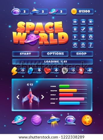 Space elements set for 2d games. Planets and spacecraft. Complete menu of graphical user interface GUI to build 2D games.
