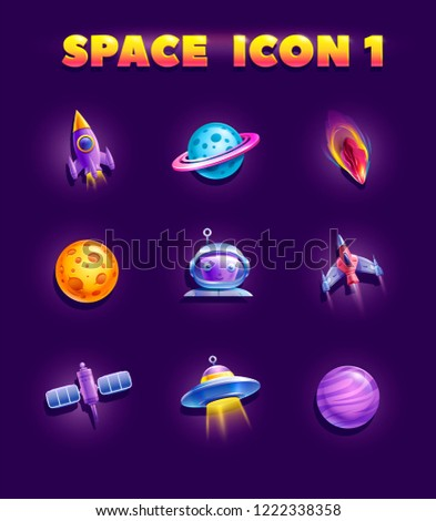 Space elements set for 2d games. Planets and spacecraft.Vector cosmic assets for game design.