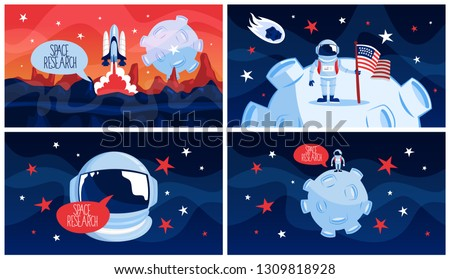 Space exploration and travel in galaxy concept. Idea of astronaut explore the new planet. Astronomy and engineering, modern technology. Flying rocket. Flat vector illustration
