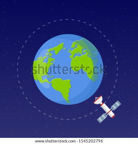 Space exploration flat vector illustration. Astronautics technology. Earth observation satellite. Spaceflight orbiting for communication and monitoring systems. Flying spacecraft in cosmos