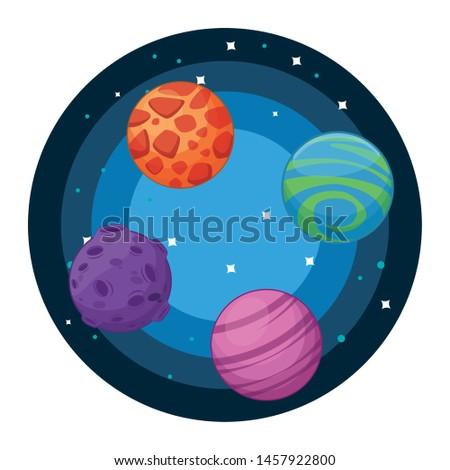 space exploration four colorful
