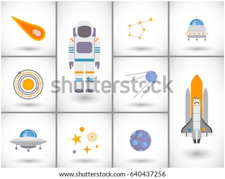 space exploration icons set