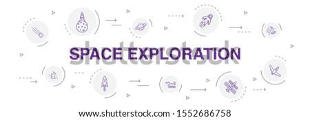 space exploration Infographic 10 steps circle design. rocket, spaceship, astronaut, planet simple icons