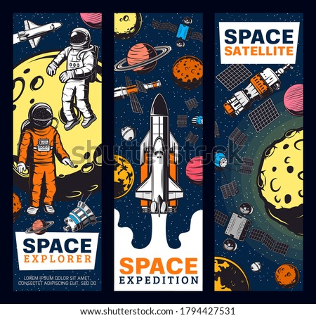 Space explore, astronauts, satellites and shuttles retro vector banners. Galaxy expedition, exploration and adventure in outer space. Spaceman cosmos explorer and alien planets colonization mission Foto stock ©