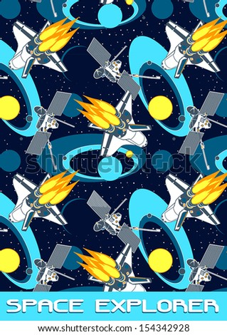 Space Explorer. Illustrator swatch of repeat pattern included.