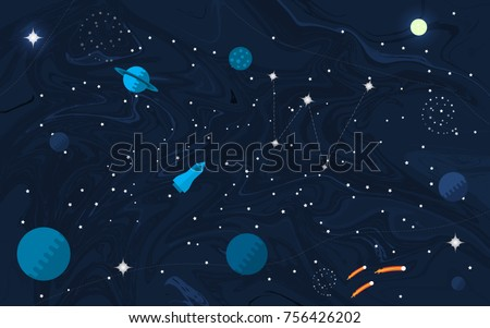 space flat background with