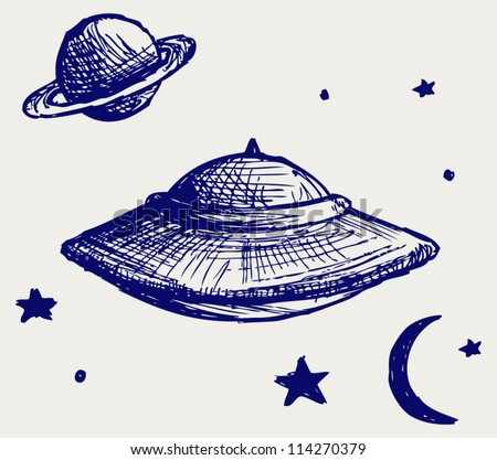 Space flying saucer. Doodle style