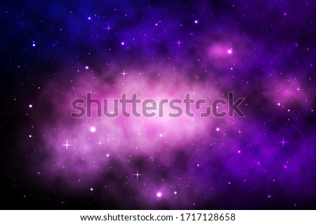 Space galaxy background with shining stars and nebula, Vector cosmos with colorful milky way, Galaxy at starry night, Vector illustration