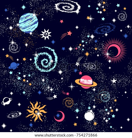 Space Galaxy constellation seamless pattern print could be used for textile, zodiac star yoga mat, phone case Photo stock ©