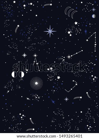 Space Galaxy pattern , seamless print could be used for textile, zodiac star yoga mat, phone case, wallpaper, banner, layout and more - Vektör