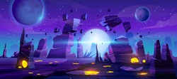 Space game background, night alien fantasy landscape with flying rocks, planets in dark starry sky. Extraterrestrial glowing liquid plasma spots in cracked land surface, Cartoon vector illustration