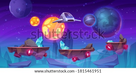 Space game level background with platforms. Vector cartoon illustration of universe with alien planets, stars and spaceship for gui interface of arcade, computer animation, mobile or console game