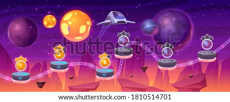 Space game level map with spaceship and alien planets, cartoon 2d gui landscape, computer or mobile arcade with platform and bonus items. Cosmos, universe futuristic background vector illustration