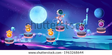 Space game, mobile arcade with astronaut jump on platforms with bonus and asset items on alien planet landscape. Cosmos, universe cartoon 2d gui futuristic adventure with cosmonaut vector illustration