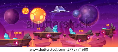 Space game platform, cartoon 2d gui alien planet landscape, computer or mobile background with spaceship, arcade elements for jumping and bonus items. Cosmos, universe futuristic vector illustration