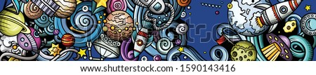 space hand drawn doodle banner