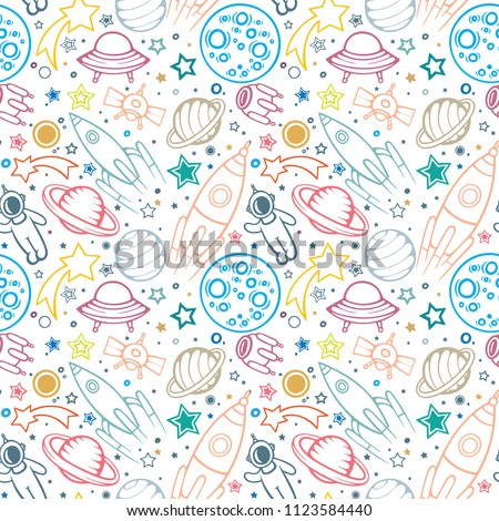 Space hand drawn sameless pattern for Kids. Space, spaceships, rocket, ufos, comets and planets with stars. Trendy kids vector background. Hand drawn space elements seamless pattern. Space doodle back