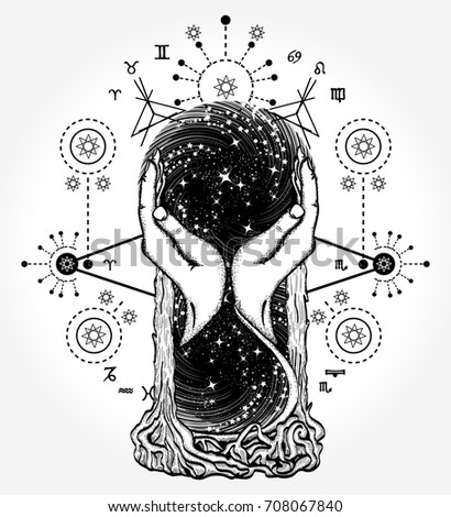 Space hourglasses tattoo, concept of time. Symbol astrology, infinity, eternity, life and death, mystical tattoo. Hourglass astrological symbols tattoo art and t-shirt design