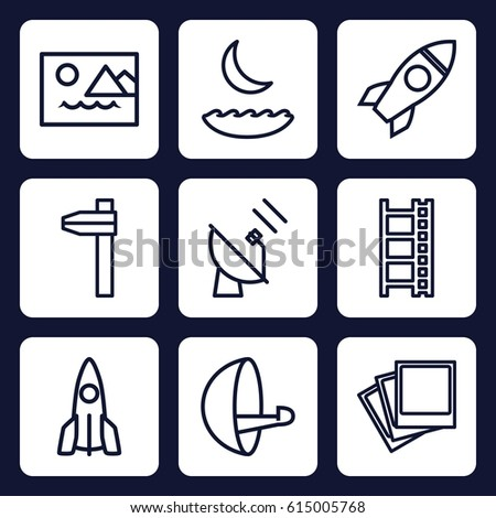 space icon set of 9 outline