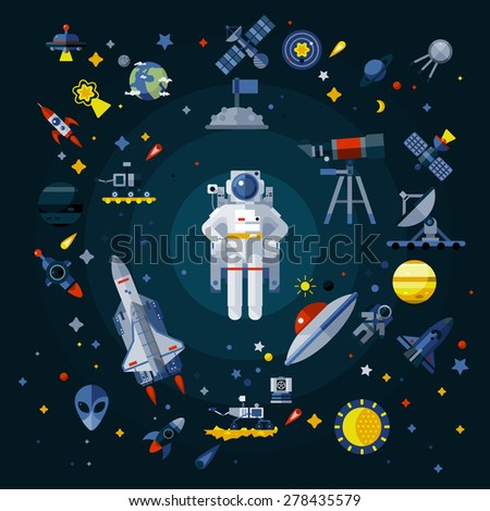 space icons composition