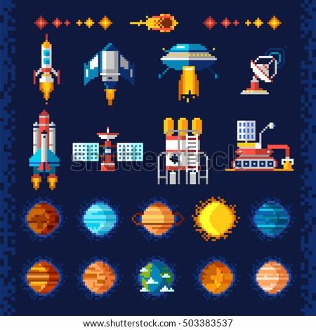 space icons composition in