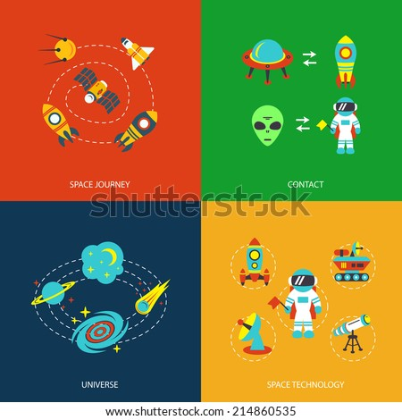 space icons infographics of