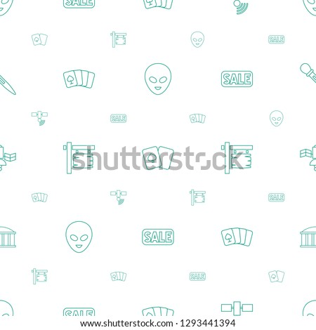 space icons pattern seamless white background. Included editable line alien head, playing card, satellite, direction board, sale, observatory icons. space icons for web and mobile.