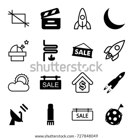 space icons set set of 16