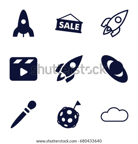 space icons set set of 9 space
