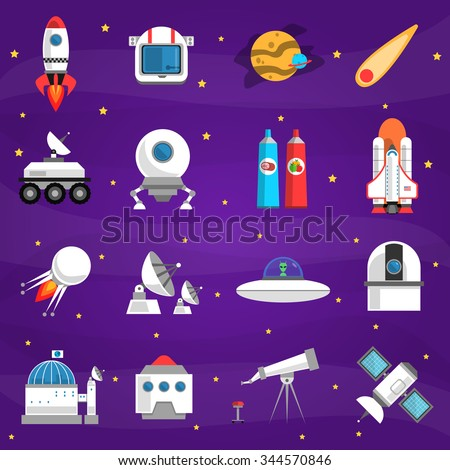 space icons set with rocket