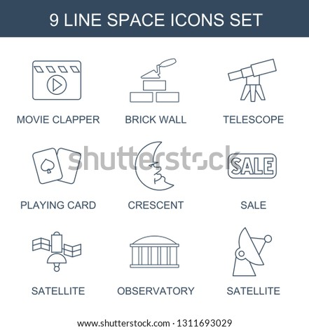 space icons. Trendy 9 space icons. Contain icons such as movie clapper, brick wall, telescope, playing card, crescent, sale, satellite, observatory. space icon for web and mobile.