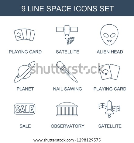 space icons. Trendy 9 space icons. Contain icons such as playing card, satellite, alien head, planet, nail sawing, sale, observatory. space icon for web and mobile.