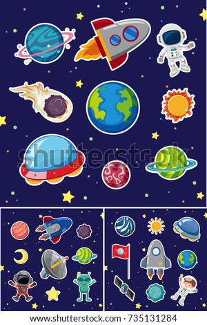 space icons with rockets and