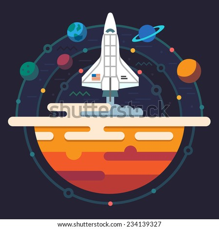 Space illustration. Planets of solar system. Rocket flying to Galaxy. Vector flat illustration